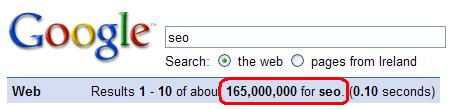 Google: Results 1 - 10 of about 165,000,000 for seo.