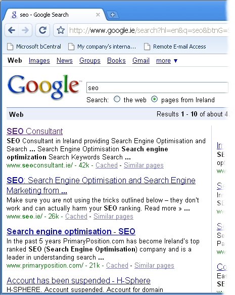 SEO Consultant first in Google Chrome